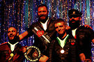 International Mr. Leather 2016 David �Tigger� Bailey (second from left) with first runner-up Todd Harris (right), second runner-up Adam �Pup Vino� Henderson (left) and International Mr. Bootblack Erick Joseph.Photos by Verdell Shannon