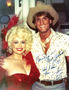Jeff Calhoun with Dolly Parton on the 1981 set of The Best Little Whorehouse in Texas and with Parton last year on the set of 9 to 5. Photo courtesy of Calhoun.