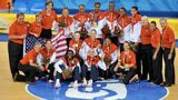 The U.S. Women pose for a picture at center court with their 2008 Olympic gold medals.