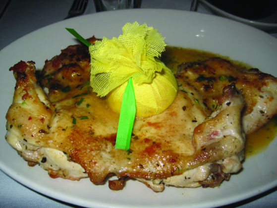 The brick chicken at Rosebud Prime.