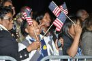 Supporters listen to President Obama's remarks at the election night victory party. Photo by Tracy Baim