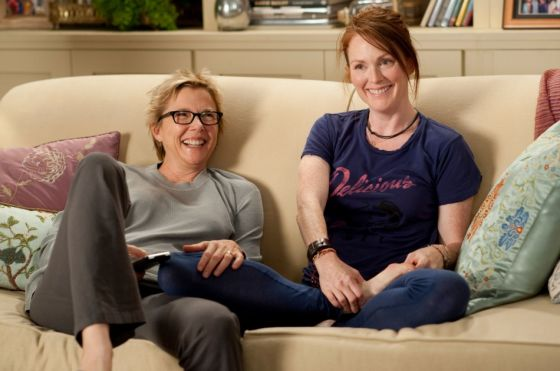 Julianne Moore (right) with Annette Bening in The Kids Are All Right.