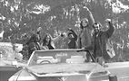 "Gray in the ""gay love Cadillac"" with gay friends on a cross-country trip, early '70s. Photo by Maher Abmad"