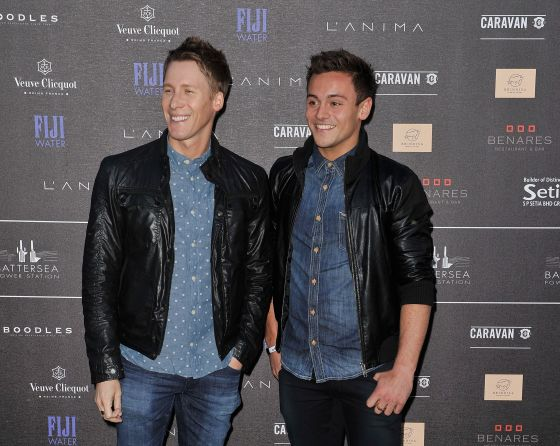 Dustin Lance Black (left) and Tom Daley. Photo by by Gareth Cattermole/Getty Images