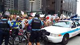 SlutWalk marchers and police. Photo by Gretchen Rachel Blickensderfer