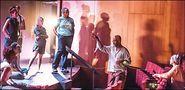Joel Hall (second from right) rehearsing �Anja� at the Logan Center. Photo by Leni Manaa-Hoppenworth