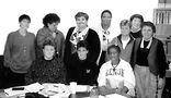 Members of the Lesbian Community Cancer Project board in the 1990s. Among those pictured are (starting third from left, back row) Suzanne Kraus, Lajaunnesse Jordan, Corinne Kawwcki, Laura Cuzzillo (right), and front row Nancy Lanoue (middle) and Jackie Anderson (right). Outlines archives