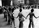 Activists at 1975 rally at the Civic Center downtown Chicago during pride week. Photo from the Rich Pfeiffer Archives