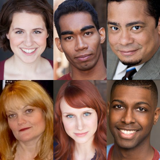 The cast of AstonRep's world premiere The Black Slot (top, l to r) Dana  Anderson, Ian Voltaire Deanes and Linsey Falls and (bottom, l to r) Amy  Kasper, ...
