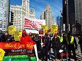 Chicago International Women's Day marchers on South Michigan Ave. Photo by Gretchen Rachel Hammond