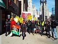 Chicago International Women's Day marchers on South Michigan Avenue. Photo by Gretchen Rachel Hammond