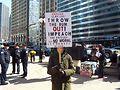 Demonstrator at Chicago International Women's Day March. Photo by Gretchen Rachel Hammond