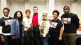 Stacey Sutton, Hannah Baptiste, Rukia Lumumba, Carlos Ramirez-Rosa, Barbara Ransby and Maxx Boykin. Photo by Carrie Maxwell
