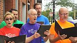 Chicago Gay Men's Chorus members in performance. Photo by Vern Hester