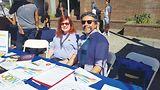 Victoria Kolakowski, left, and Stewart Blandón Traiman staffed the California Genealogical Society's table at Oakland Pride on Sept. 9.Photo by Cynthia Laird