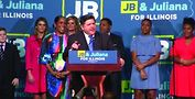 Governor-elect J.B. Pritzker and Lieutenant Governor-elect Juliana Stratton (second left fromPritzker). Screenshot from YouTube