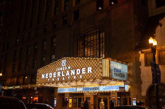 Nederlander Theatre lights marquee