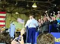 The crowd cheers as Pete Buttigieg (left) embraces his husband, Chasten. Photo courtesy of Richard Knight Jr.