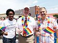 Among the representatives who voted for the act were (left to right) Lauren Underwood, Bill Foster and Sean Casten. Photo from 2018 Aurora Pride Parade by Tracy Baim