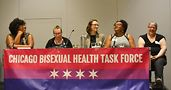 Aisha Davis (from left), Aiden Harrington, Cassandra Damm, Tiffany M. Favers, and Paige Listerud. Photo from Chicago Bisexual Health Task Force