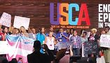Activists disrupt the United States Conference on AIDS (USCA) opening plenary. Photo by Derrick Mapp
