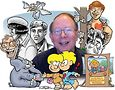 Howard Cruse with collage of characters. Image courtesy of Jay Blotcher